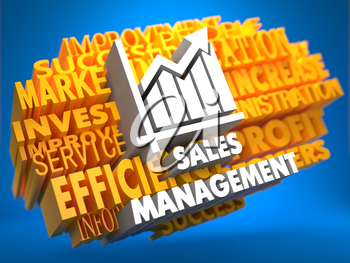 Sales Management with Growth Chart Icon on Yellow WordCloud on Blue Background.