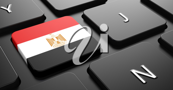 Flag of Egypt - Button on Black Computer Keyboard.