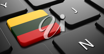 Flag of Lithuania - Button on Black Computer Keyboard.