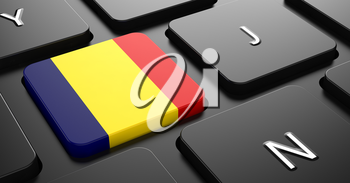 Flag of Romania - Button on Black Computer Keyboard.