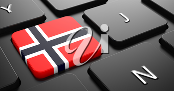 Flag of Norway - Button on Black Computer Keyboard.