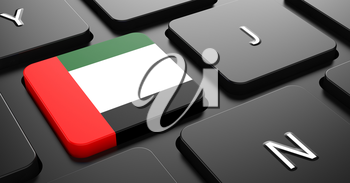Flag of United Arab Emirates - Button on Black Computer Keyboard.