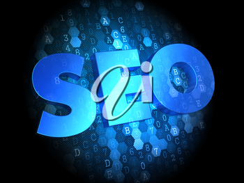 SEO - Blue Color Text on Dark Digital Background.