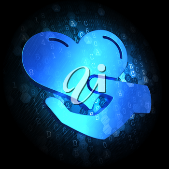 Blue Icon of Heart in the Hand on Dark Digital Background.
