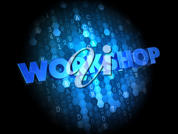 Workshop - Text in Blue Color on Dark Digital Background.
