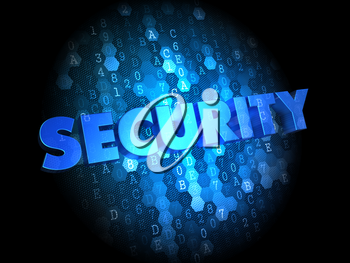 Security - Text in Blue Color on Dark Digital Background.