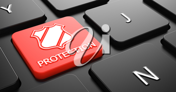 Protection with Shield Icon - Red Button on Black Computer Keyboard.