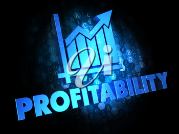 Profitability with Growth Chart - Blue Color Text on Dark Digital Background.