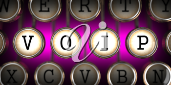 VOIP - Voice over Internet Protocol - on Old Typewriter's Keys on Pink Background.