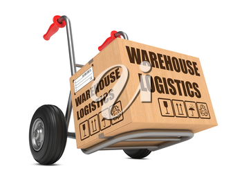 Cardboard Box with Warehouse Logistics Slogan on Hand Truck White Background.