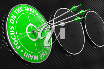 Focus on the Main Slogan. Three Arrows Hitting the Center of Green Target on Black Background.