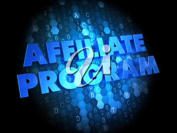 Affiliate Program - Blue Color Text on Digital Background.