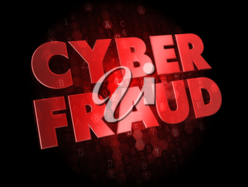 Cyber Fraud -  Red Color Text on Digital Background.