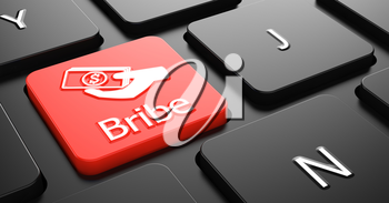 Bribe with Money in the Hand Icon - Red Button on Black Computer Keyboard.