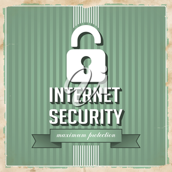 Internet Security with Padlock and slogan on ribbon on Green Striped Background. Vintage Concept in Flat Design.