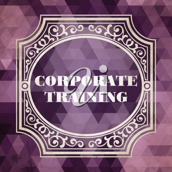 Corporate Training Concept. Vintage design. Purple Background made of Triangles.