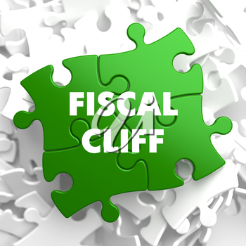 Fiscal Cliff on Green Puzzle on White Background.