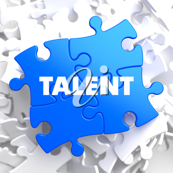 Talent on Blue Puzzle on White Background.