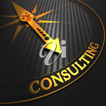 Consulting - Golden Compass Needle on a Black Field Pointing.