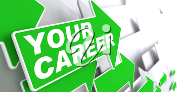 Your Career Concept. Green Arrows on a Grey Background Indicate the Direction.
