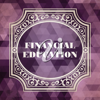 Financial Education Concept. Vintage design. Purple Background made of Triangles.