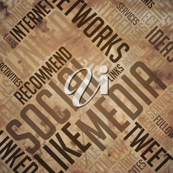 Social Media  - Grunge Brown Wordcloud Concept on Old Paper Background.