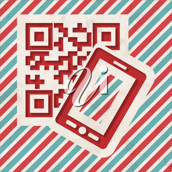 QR Code with Smartphone Icon on Red and Blue Striped Background. Vintage Concept in Flat Design.