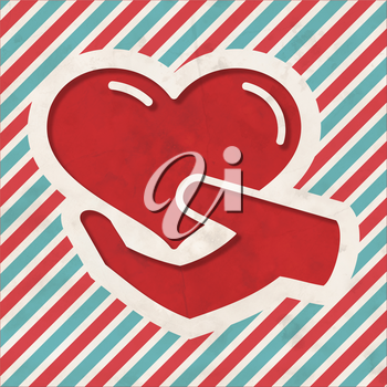 Charity Concept - Icon of Heart in the Hand on Red and Blue Striped Background. Vintage Concept in Flat Design.