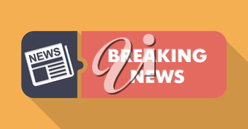 Breaking News Concept on Orange in Flat Design with Long Shadows.