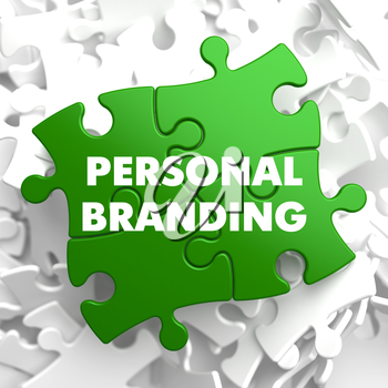 Personal Branding on Green Puzzle on White Background.