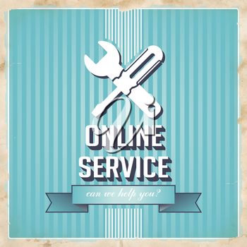 Online Service with Icon of Crossed Screwdriver and Wrench and Slogan on Blue Striped Background. Vintage Concept in Flat Design.