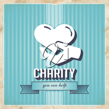Charity with Icon of Heart in Hand on Blue Striped Background. Vintage Concept in Flat Design.