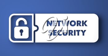 Network Security Concept. White Button on Blue Background in Flat Design Style.