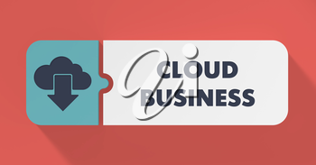 Cloud Business Concept in Flat Design with Long Shadows.
