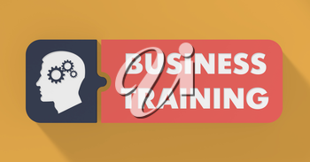 Business Training Concept in Flat Design with Long Shadows.