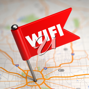 WiFi Concept - Small Flag on a Map Background with Selective Focus.