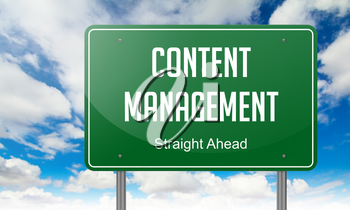 Highway Signpost with Content Management wording on Sky Background.