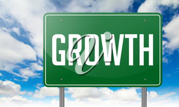 Highway Signpost with Growth wording on Sky Background.