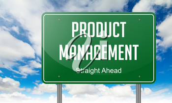 Highway Signpost with Product Management wording on Sky Background,