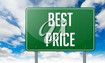 Highway Signpost with Best Price wording on Sky Background.