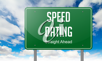 Highway Signpost with  Speed Dating wording on Sky Background.