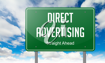 Direct Advertising - Highway Signpost on Sky Background.