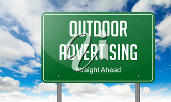 Highway Signpost with  Outdoor Advertising Wording on Sky Background.