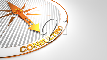 Consulting Concept - Golden Compass Needle on a White Field Pointing.