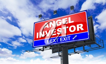 Angel Investor - Red Billboard on Sky Background. Business Concept.
