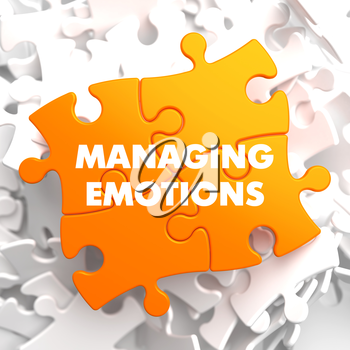 Managing Emotions - Yellow Puzzle On White Background.