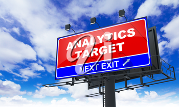Analytics Target  - Red Billboard on Sky Background. Business Concept.