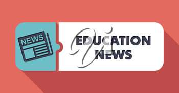 Education News  Button in Flat Design with Long Shadows on Scarlet Background.