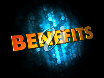 Benefits - Golden Color Text on Dark Blue Digital Background.