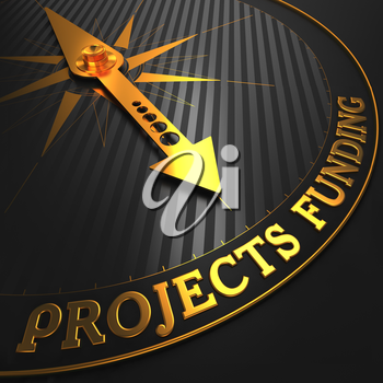 Projects Funding  - Golden Compass Needle on a Black Field Pointing.